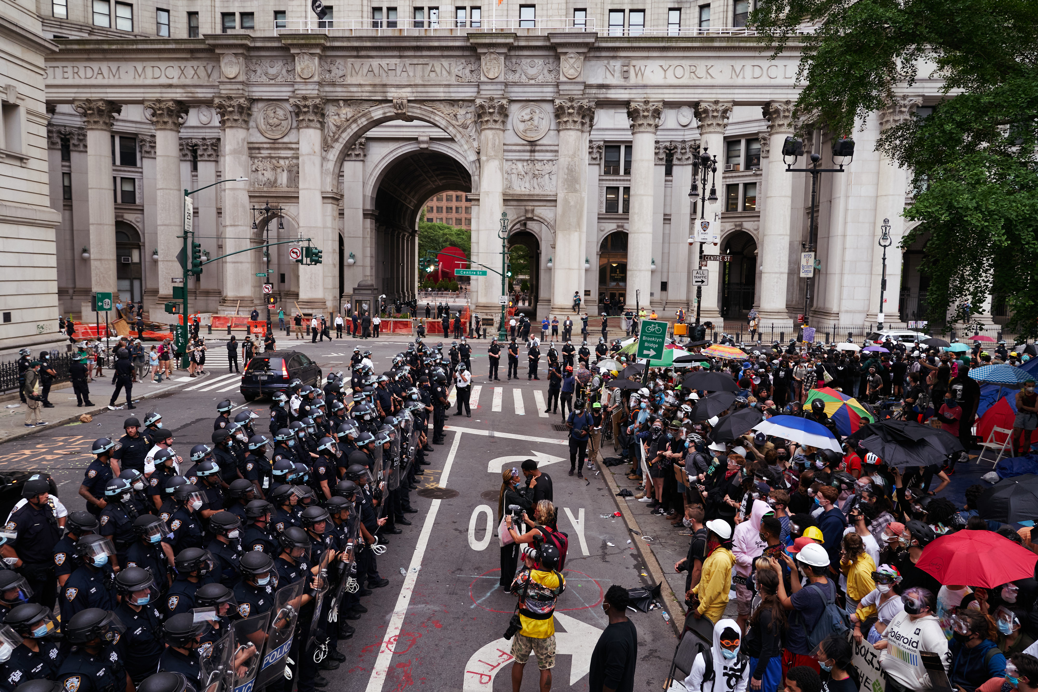 City Hall Protestors clash with NYPD